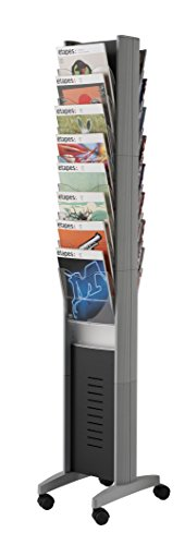 PaperFlow EPI Double-Sided Mobile Literature Display Rack, 16 Pockets, Letter Size, 66 x 11.8 x 15.17 Inches, Silver - Paperflow Letter