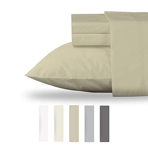 Top Quality Organic Cotton Bed Sheet Set - Premium GOTS Certified Bedding Best for any House and Hotel - Cool Crisp All Season Percale Sheets, Fits Mattress Upto 18'' Deep Pocket - 4 Pc - Queen -Taupe