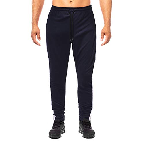 Eaktool Elastic Waist Slim-fit Elastic Pants,Fashion Summer Solid Casual Sports Running Elastic Drawstring Trousers Navy