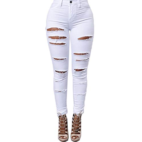 Poche MUCHAO Taille Skinny Stretch Casual Femmes Bouton Blanc Distressed lastique Haute Jeans Boyfriend Denim Genou Mode Ripped Femmes qqOPF4nr