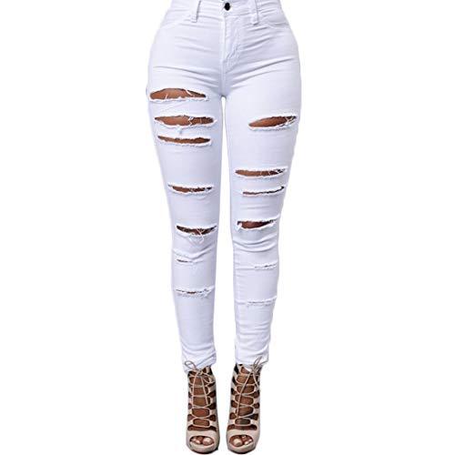 Bottoni Boyfriend Muchao Con Donna Denim Alta Fashion Vita Bianco Jeans Strappati Skinny Casual Camicia Elastic Stretch A Da 66qpwa