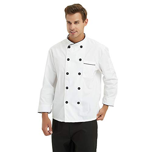 TopTie Unisex Long Sleeve Button Chef Coat, White with Black by TopTie