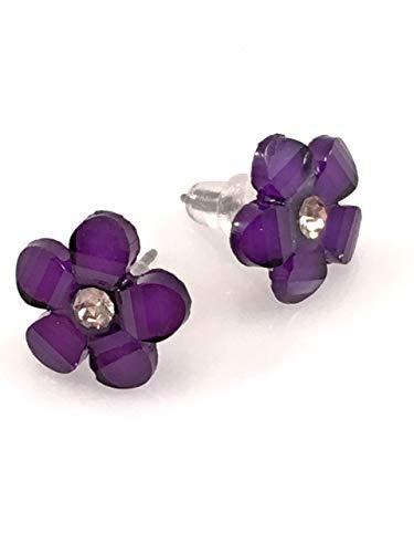 (Purple Flower Post Earrings)