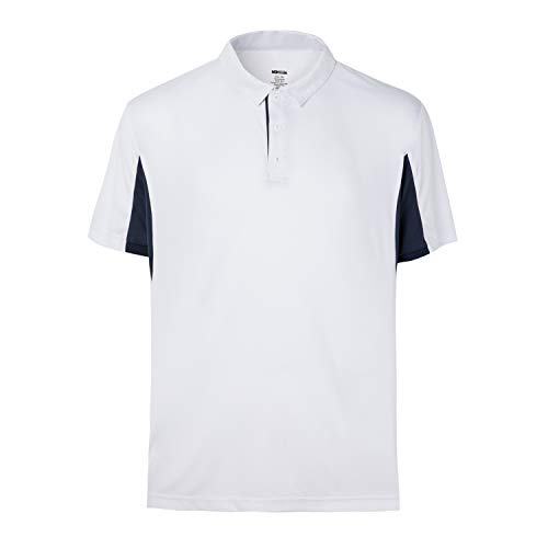 MOHEEN Men's Short Sleeve Moisture Wicking Performance Golf Polo Shirt (White,3XL)
