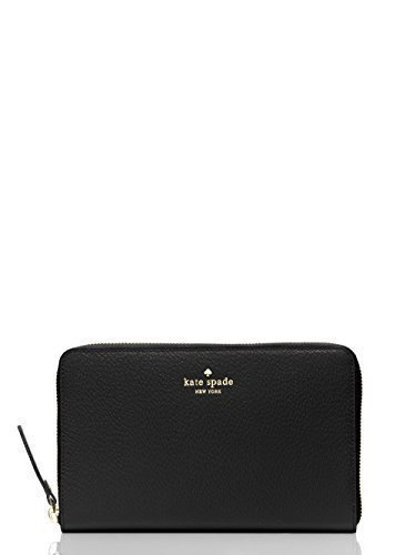 Kate Spade Grand Street Leather Zip Around Travel Wallet & Clutch (Black) by Kate Spade New York