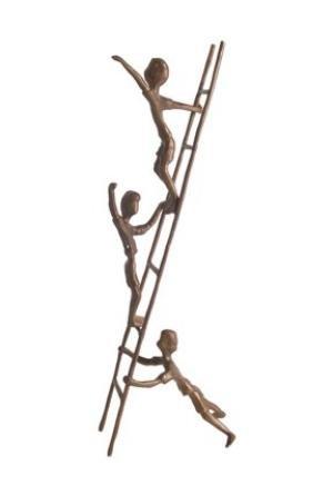 - Danya B. ZD6720 Metal Art Shelf Décor - Contemporary Sand-Casted Bronze Sculpture – Children on a Ladder