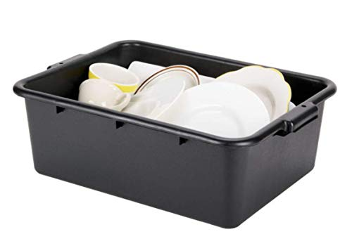 "6 PACK 20"" x 15"" x 7"" Black Polypropylene Bus Plastic Restaurant Dishwasher Tub by Lowpricesupply"