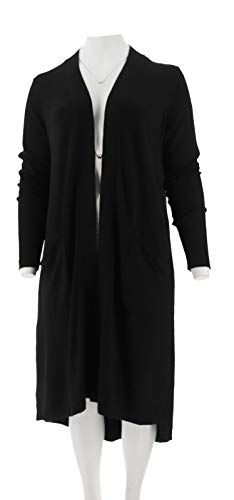 H Halston Open Front Hi-Low Duster Cardigan Black XXS New A310421 from H by Halston