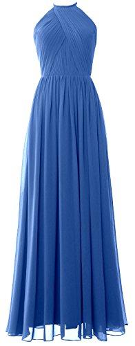 MACLoth Women Halter Long Bridesmaid Dress Chiffon Formal Gown with Open Back Azul