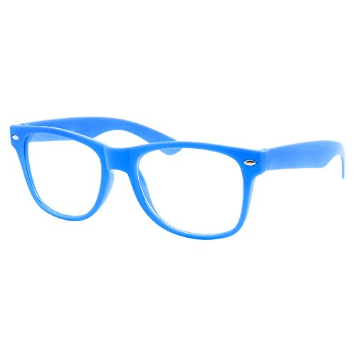 grinderPUNCH Kids Size Color Glasses Clear Lens Nerd Geek Costume Fake Children's (Ages 3-10) (Blue)]()
