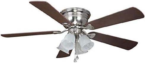 Harbor Breeze Centreville 52-in Brushed Nickel Indoor Flush Mount Ceiling Fan