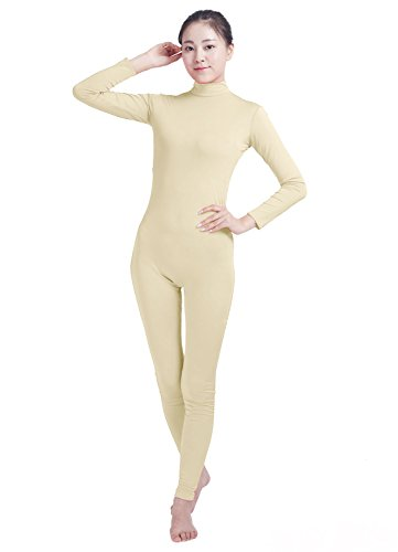 Dancewear Unitard (Ensnovo Womens Turtleneck Spandex Long Sleeve Footless Dancewear Unitard Nude, XL)