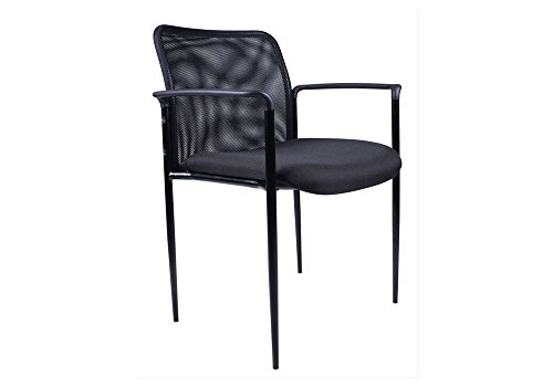 Mesh Back Guest Stack Chair Black Fabric Dimensions: 27