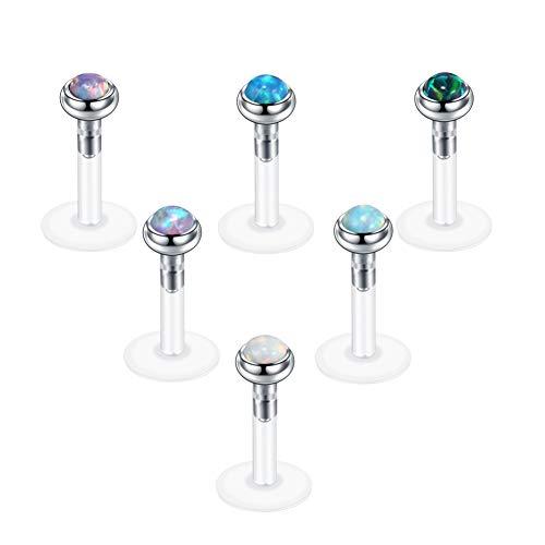 Xpircn 16G Stainless Steel Opal Labret Monroe Lip Ring Tragus Helix Earring Studs Piercing Jewelry 6PCS