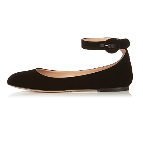 ed9afcd39 Eldof Womens's Ballet Flats Pumps Ankle Bukle Ballet Falts Closed ...