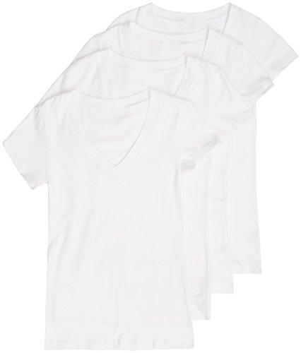 4 Pack Zenana Women's Basic Plus V-Neck Tees 3X White, White, White, White
