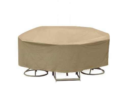 Round 48 Inch Bar - Protective Covers Weatherproof Patio Table and Chair Set Cover, 48 Inch x 54 Inch, Round Bar Table, Tan