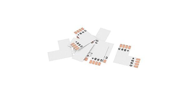 eDealMax 10 piezas L 4P Tipo 2 vías Conectador del acoplador de tarjeta de adaptador para 5050 10mm RGB LED - - Amazon.com