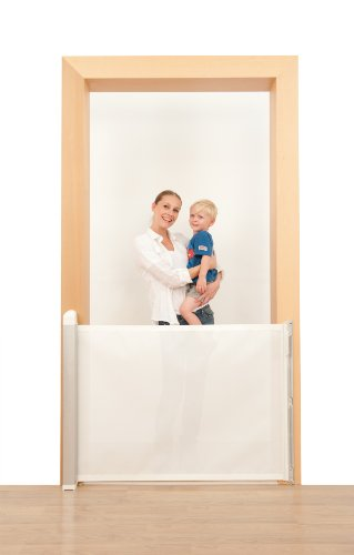 Lascal KiddyGuard Avant, White, Retractable Baby Safety Gate, Simple One-Hand Operated Childproof Locking Mechanism, Elegant Brushed Aluminum Design Fits Any Dcor, Fits Inside Openings Up To 48