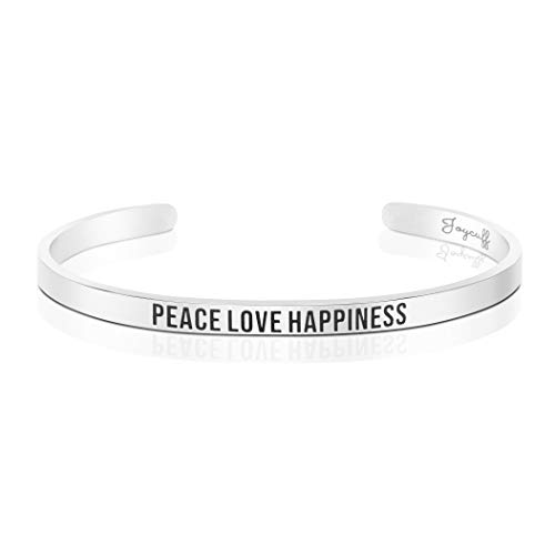- Joycuff Peace Love Happiness Bracelet Inspirational Mantra Cuff Bangle Personalized Gifts for Women Stainless Steel
