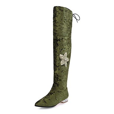 Heart&M Damen Schuhe Kunststoff Vlies Herbst Winter Reitstiefel Modische Stiefel Stiefel Flacher Absatz Spitze Zehe Oberschenkel-hohe Stiefel army green
