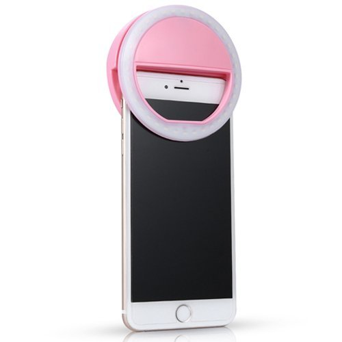 Cage Sents Selfie Ring Light for Camera Rechargeable Battery 36 LED laptop iPad Photography all smart Phones iPhone summing tablet 3-Level Brightness clip on night day darkness pink (Ringing Phone Light Flasher)