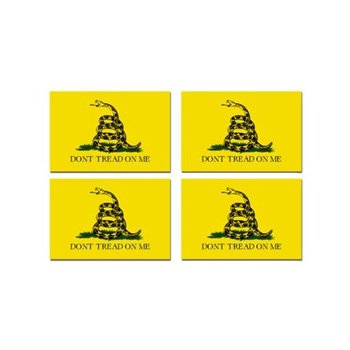 Gadsden Flag Sticker - Gadsden Don't Tread On Me - Sheet of 4 - Window Bumper Sticker