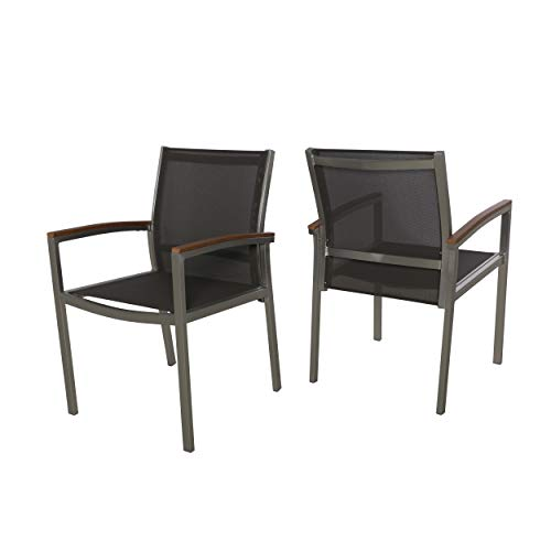 Emma Patio Dining Chairs - Aluminum - Outdoor Mesh Seats - Faux Wood Arms - Set of 2 - Silver with Gray and Natural Finish (Faux Wicker Chairs Patio)
