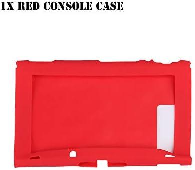 HTBG 任天堂スイッチゲームアクセサリー用シリコーン滑り止め保護スキンケースカバーグリップジョイスティックキャップシェルラップコンソールバンパー (Color : 1X Red Console Case)