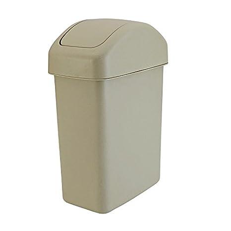 Hamhu Plastic Cover Garbage Bin Household Kitchen Living Room Plastic Bucket Square Trash Can, Rice White
