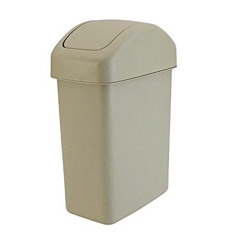 Hamhu Plastic Cover Garbage Bin Household Kitchen Living Room Plastic Bucket Square Trash Can,Rice White