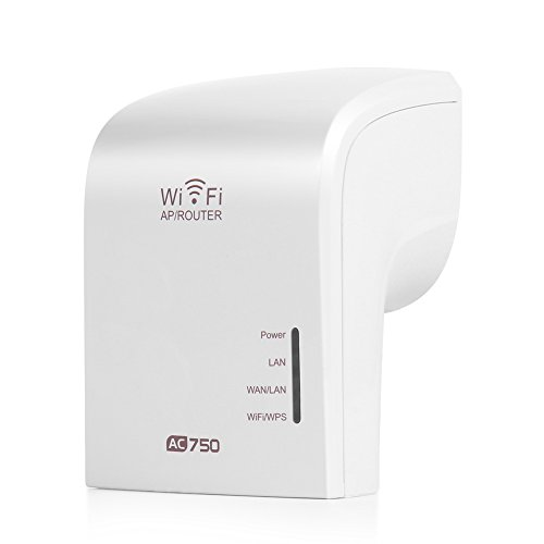 TNP AC750 Dual Band Wi-Fi Range Extender Wireless Repeater Router with Ethernet Port Wall Outlet - WiFi Amplifier Wireless Access Point AP Signal Booster Antenna IEEE 802.11n/g/b 802.11ac WPS from TNP Products
