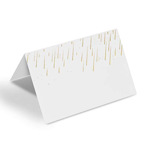 AZAZA 50 Pcs Place Cards with Gold Foil - Table Tent Cards Seating Place Cards for Weddings Banquets Dinner Parties 2.5