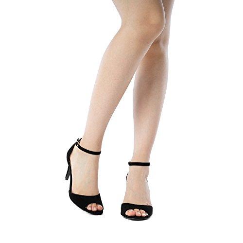 Heel Pairs Women's Dream Peep Fashion Pump Black Sandals Toe Eileena q0vdxw7dP