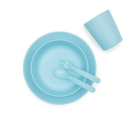 Bobo&Boo Bamboo 5 Piece Children's Dinnerware, Pacific Blue, Non Toxic & Eco Friendly Kids Mealtime Set for Healthy Infant Feeding, Great Gift for Baby Showers, Birthdays & Preschool Graduations by Bobo&boo (Image #5)