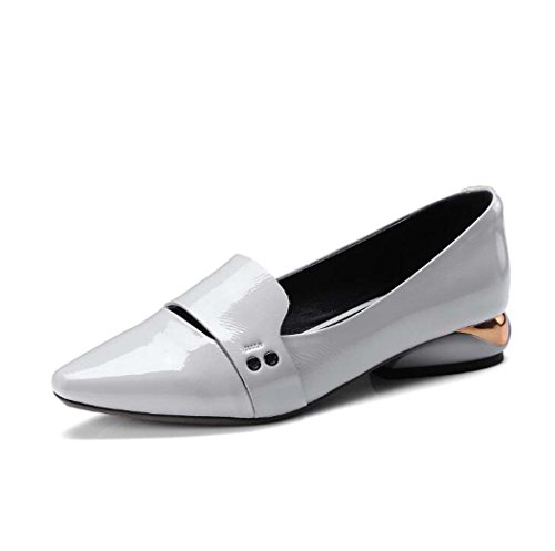 Zapatos Planos de Punta Estrecha para Mujer Zapatos Gris/Verde Talla 34-39 (Color : Gris, Tamaño : 35)