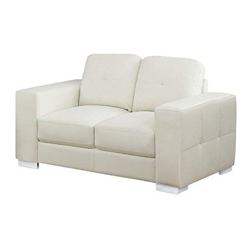 Monarch Specialties I I 8222IV Bonded Leather Match Love Seat with Sleek Contemporary Silver Metal Feet, Ivory