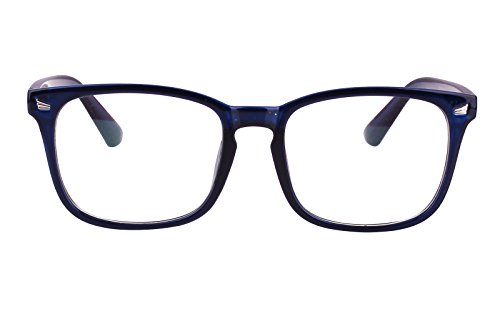 Agstum Wayfarer Plain Glasses Frame Eyeglasses Clear Lens (Dark blue, 53)