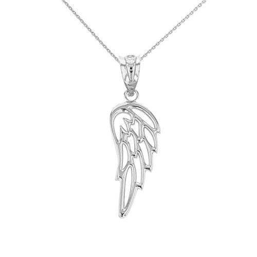Religious Jewelry by FDJ 925 Sterling Silver Guardian Angel Filigree Wing Pendant Necklace, 16