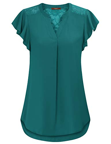 Gaharu Blouses for Women Fashion 2019 Work Ruffle Sleeve Tunics Shirts for Leggings Business Casual Clothes Split V Neck Cool Chiffon Tee Blouses Dark Cyan,XL (Women Fashion Chiffon Casual)