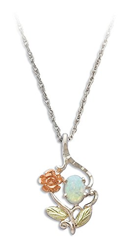 - Black Hills Gold Rose Pendant in Sterling Silver with 7X5 MM Created Opal