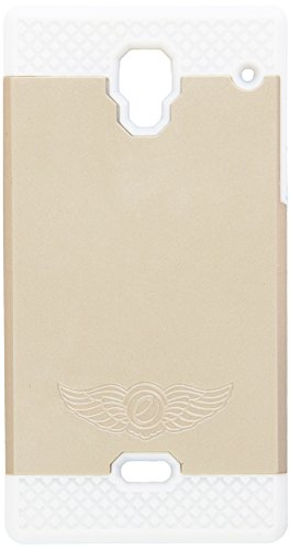 Eagle Cell Hybrid Dual Layer TPU Protective Hard Case Cover for Sharp Aquos Crystal 306SH - Retail Packaging - White/Gold