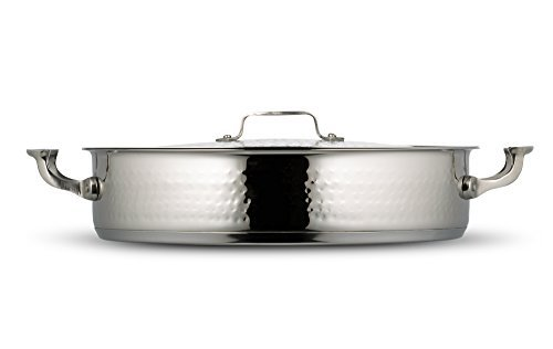 Bon Chef 60032HF Stainless Steel Induction Bottom Cucina Pot with Cover,Hammered Finish,9 quart Capacity,14-5/8