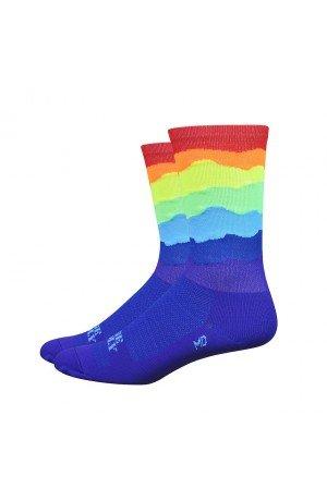 DeFeet Ridge Supply Skyline Aireator Hi Top 6in Sock Skyline Rainbow Top, XL - Men's