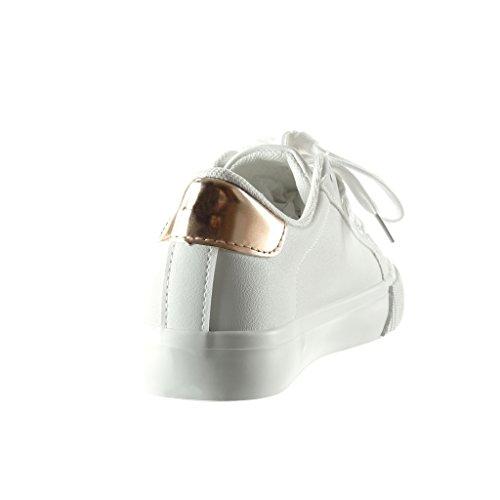 Angkorly - Zapatillas de Moda Deportivos mujer estrella strass bordado Talón tacón plano 2.5 CM - Blanco