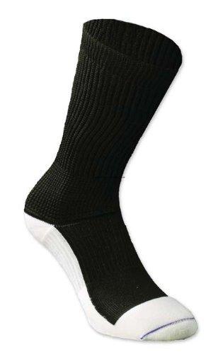 (1 Each Single Euros Rx Diabetic Crew Socks Large Black with White SOCKWISE INC DB156BL )
