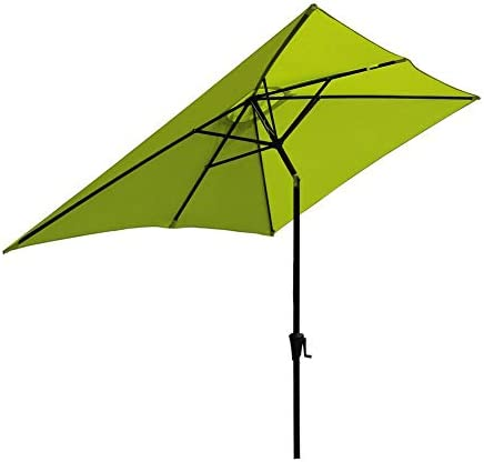 SUNSITT Rectangular Patio Umbrella Outdoor Market Table Umbrella with Push Button Tilt and Crank, 6.6 by 9.8 Ft, Lime Green