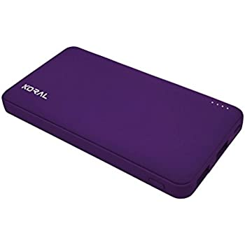 Koral Luma 12000 Portable Charger - 12000mAh Power Bank (External Battery) with Quick Charge 2.0 for iPhone, iPad, Kindle, Samsung & More (Purple)