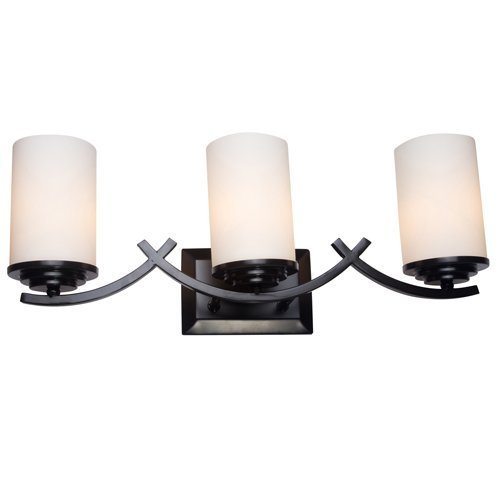 Y Decor L4090-3V-ORB Modern, Transitional, Traditional 3 Light Bathroom Vanity Light Oil Rubbed Bronze Finish with White Glass Shade By Y Décor, Oil Rubbed Bronze, Brown