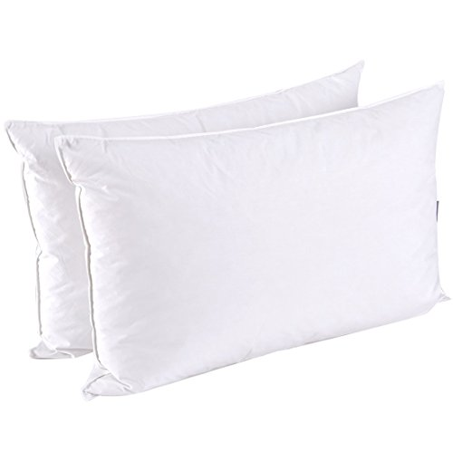 Puredown Goose Feather White Down Pillow Inserts for Sleeping 100% Cotton Fabric Cover Bed pillows, Set of 2,Standard Size New 20 Animal Print